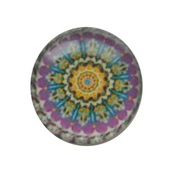 Cabochon Glass with plate on the rear 12mm Round mandala purple