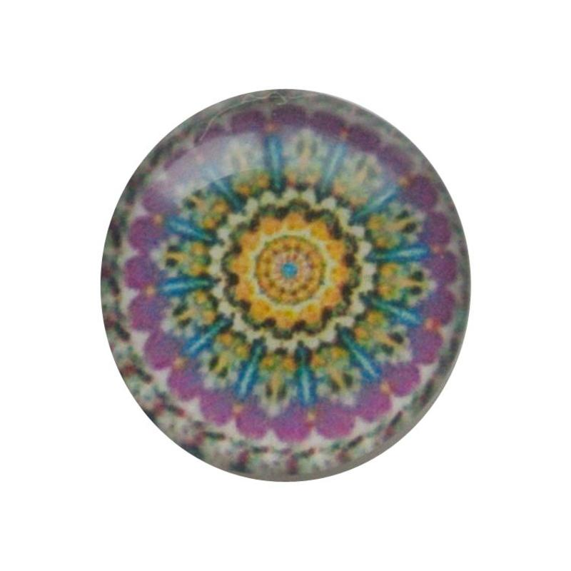 Cabochon Glas met plaatje aan de achterkant Rond 12mm mandala lila