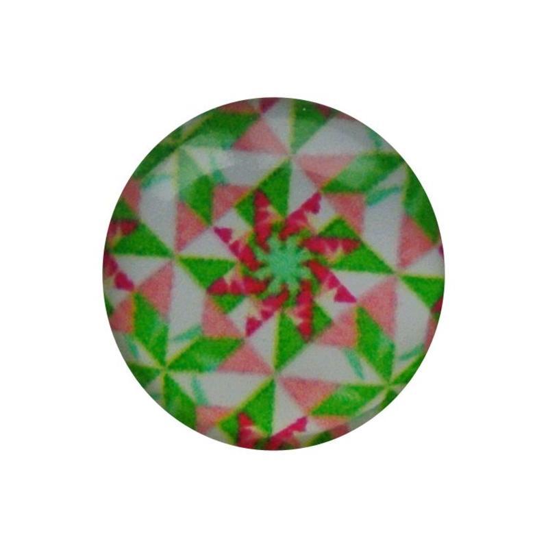 Cabochon Glas met plaatje aan de achterkant Rond 12mm retro green pink