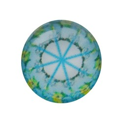 Cabochon Glass with plate at the back 12mm round retro aqua white