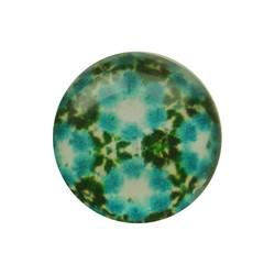Cabochon Glas met plaatje aan de achterkant Rond 12mm retro flowers aqua