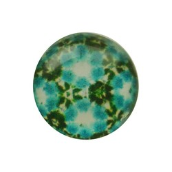 Cabochon Glass with plate at the back 12mm round retro aqua flowers