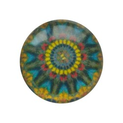 Cabochon Glass with plate on the rear 12mm Round mandala multi yellow