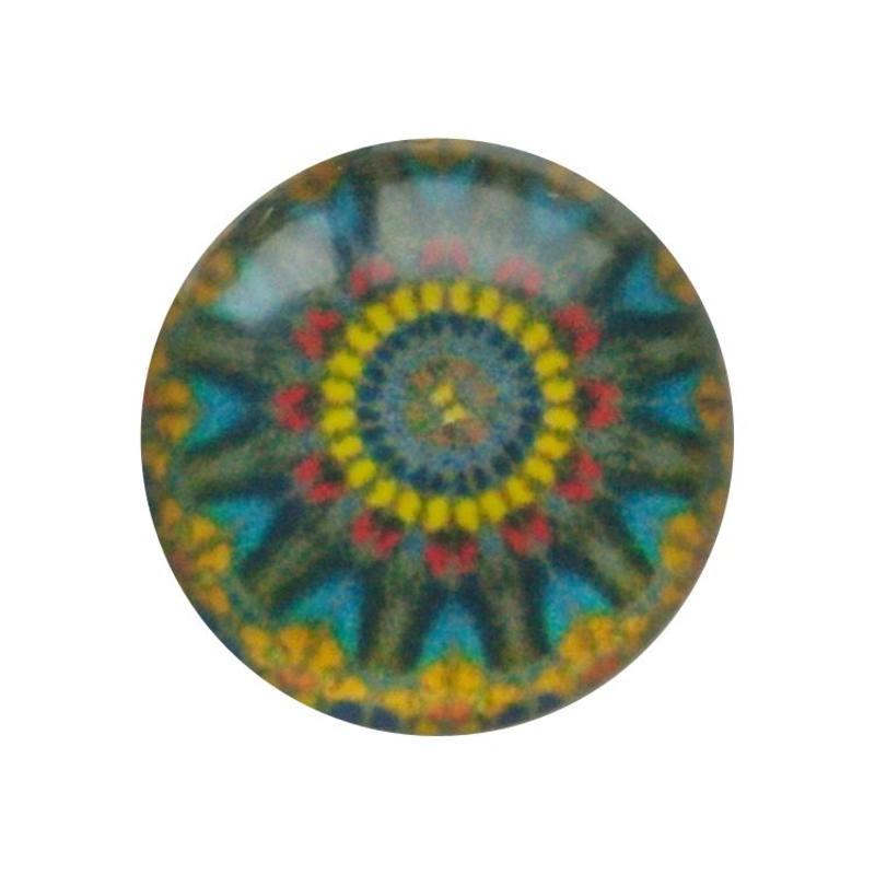 Cabochon Glas met plaatje aan de achterkant Rond 12mm mandala multi yellow