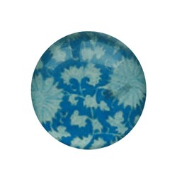 Cabochon Glass with plate on the back around 12mm Flowers Blue white