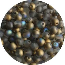 Glaskraal 4mm Rond Mat Grey Gold AB 100 stuks voor