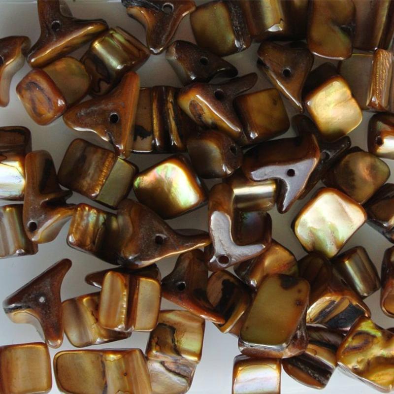 Muschelperlen 5-12mm Cognac 50 Stück für
