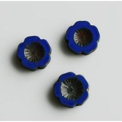 Glasbloem Mexican flower Kobalt 14mm