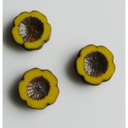 Glasbloem Mexican flower Geel 14mm