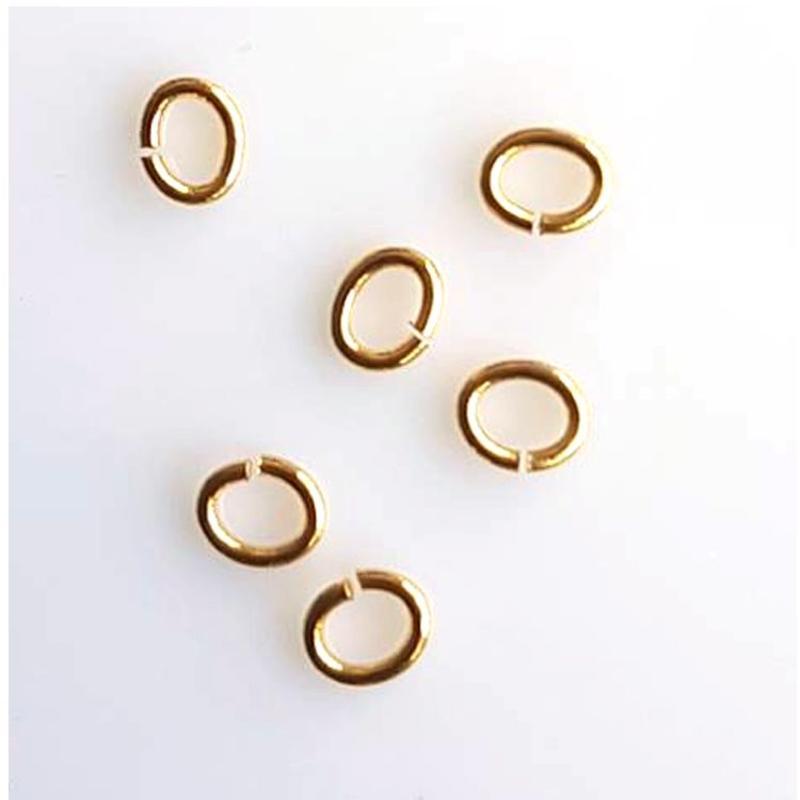 Oval Aanbuigringetjes. Lasercut 3x5mm. Gold.