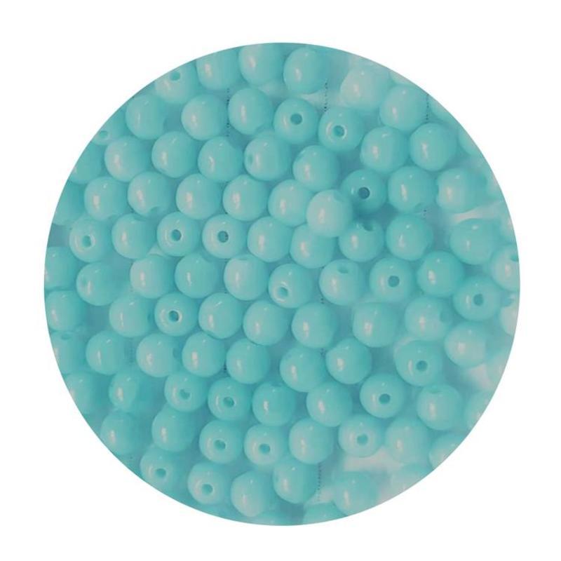 Glaskraal  3mm  Rond  Aqua 100 stuks voor.
