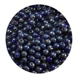 Glaskraal 3mm  Rond  Kobaltblauw Travertin 100 stuks voor.
