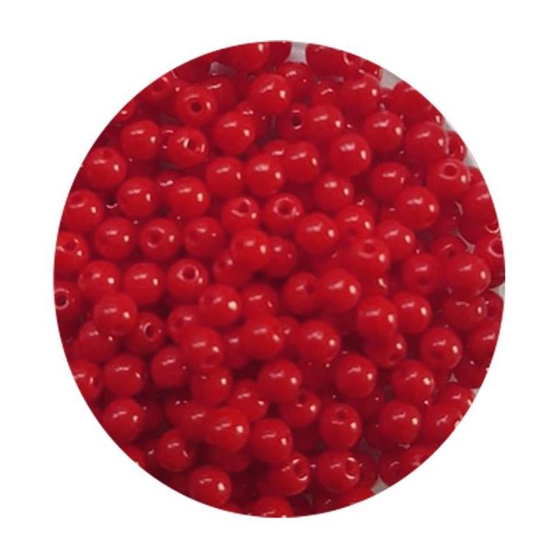 Glaskraal 3mm  Rond  Rood Opaque 100 stuks voor.