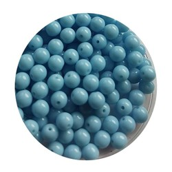 Glaskraal 4mm  Rond  Aquablauw Opaque 100 stuks voor.