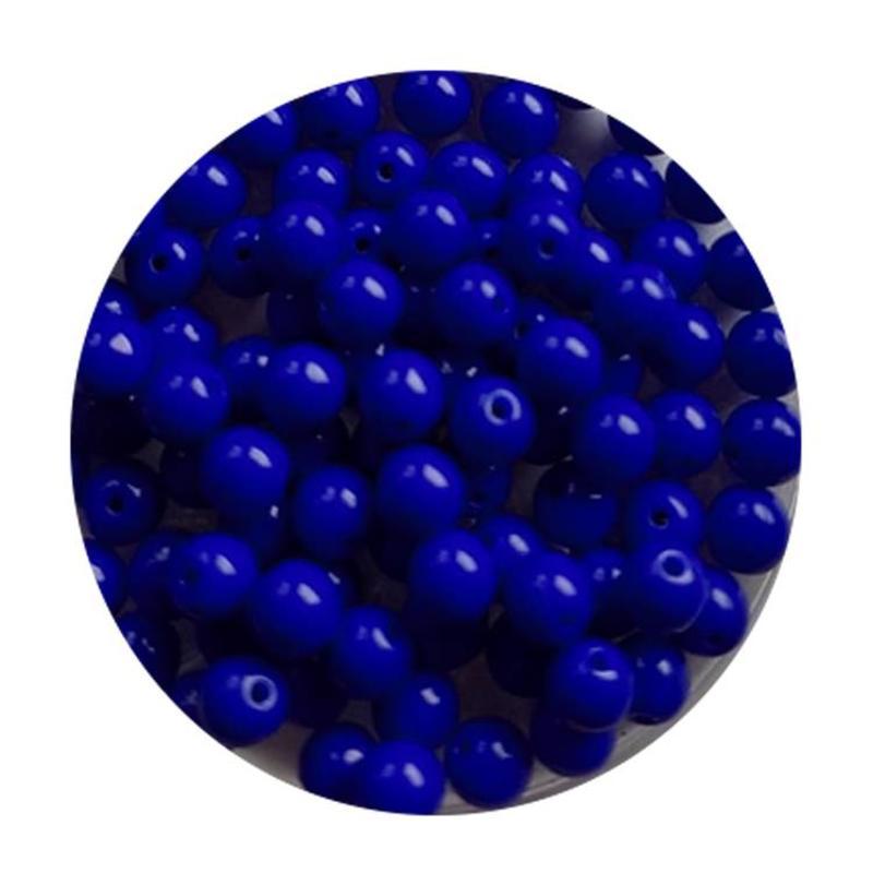 Glaskraal 4mm  Rond  Kobaltblauw Opaque 100 stuks voor.
