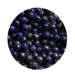 Glaskraal 4mm  Rond  Kobaltblauw Opaque Travertin 100 stuks voor.