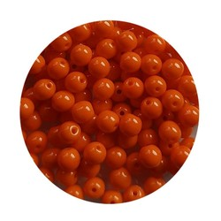 Glaskraal 4mm  Rond  Oranje Opaque 100 stuks voor.