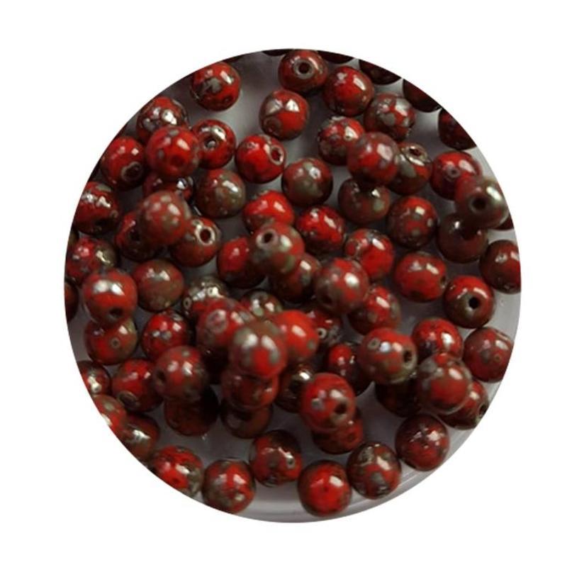 Glaskraal 4mm  Rond  Rood Travertin 100 stuks voor.