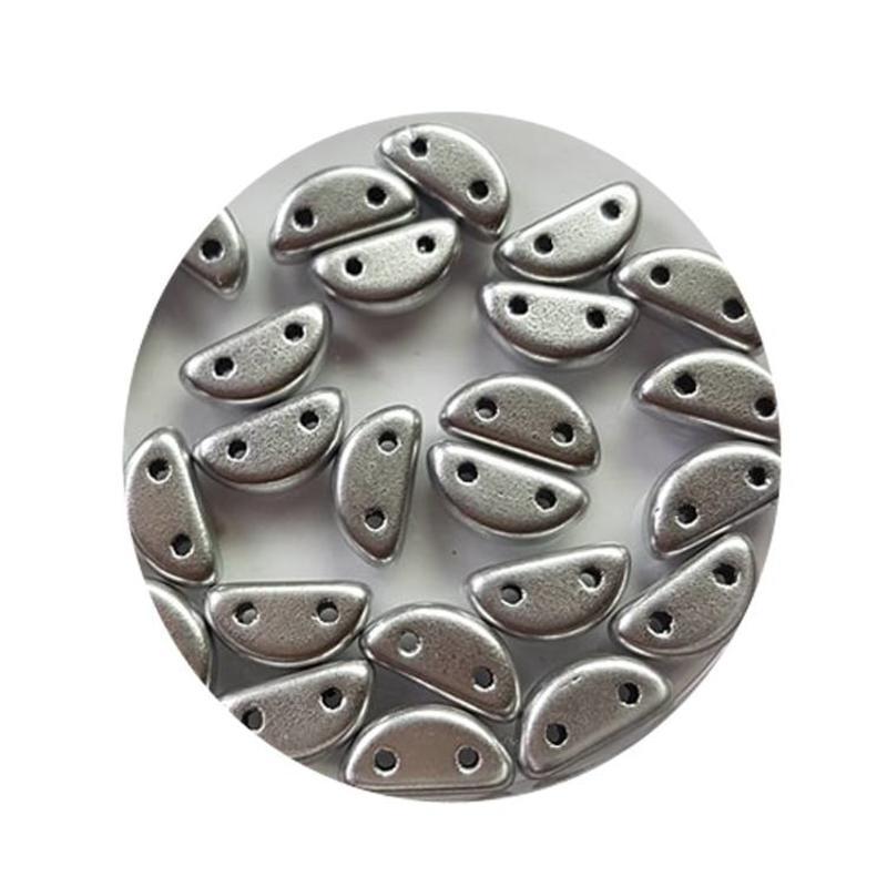 Halfronde 2-hole bead Glaskraal 8x4mm  full zijdeglans labrador 25 stuks voor