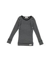 MarMar Copenhagen Plain Tee LS Modal Stripes, Caviar / Grey