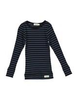 MarMar Copenhagen Plain Tee LS Modal Stripes, Caviar / Blue