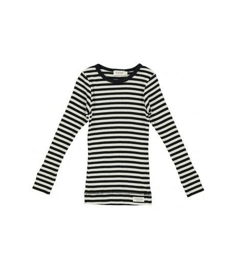 MarMar Copenhagen Plain Tee LS Modal Stripes, Caviar / White