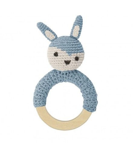 Sebra Crochet rattle, rabbit on ring, cloud blue
