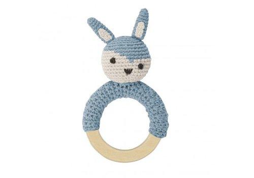 Sebra Crochet rattle, rabbit on ring, cloud blue