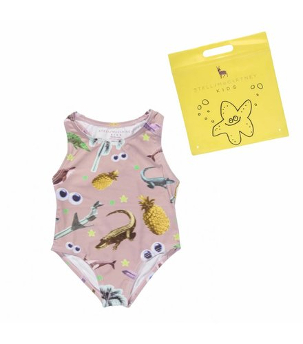 Stella McCartney Kids Marcie, Swimwear Swim Sticker Print on Dusty Rose Base