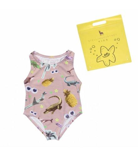 Stella McCartney Kids Marcie, Swimwear Swim Sticker Print on Dusty Rose Base
