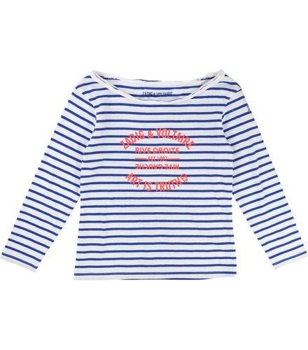 Zadig et Voltaire Kids T-Shirt Manches Blanc Bleu