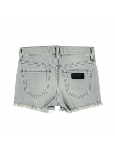 Finger in the nose NOVA Bleached Grey Fringes - Girl Woven 5 Pockets Denim Mini