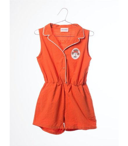 BOBO CHOSES Tailor neck Rompers Pipping, red clay