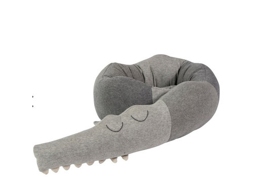 Sebra Sleepy Croc, Knitted cushion grey