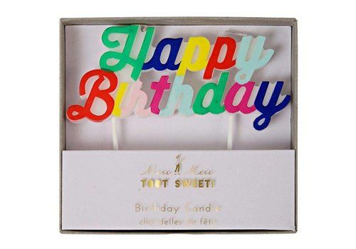 Meri Meri Multi coloured happy birthday candle
