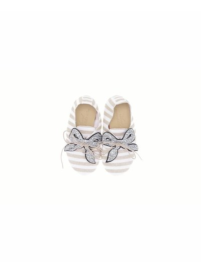 Anniel Shoes Anniel Kids White Silver Glitter with Bow shoes