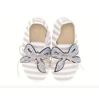 Anniel Kids White Silver Glitter with Bow shoes