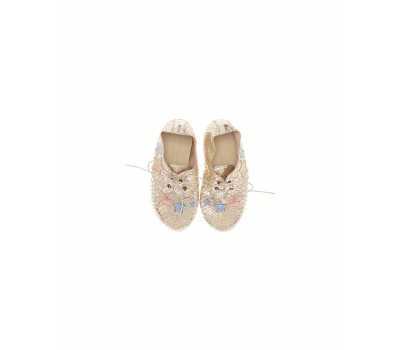 Anniel Kids Leather Golden Pastel Star shoes