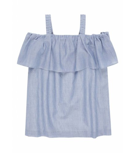 Little Remix Jr Milla Ruffle Off-Shoulder Top Dark Blue