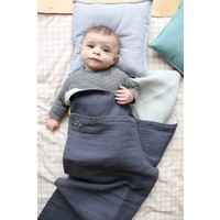 Two Tone Soft Cotton Light Weight Blanket/Swandle Double Layer - Hand Embroidered - Embroidery Golden Blue Grey/Aqua