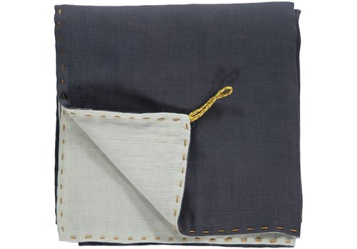 Camomile London Two Tone Soft Cotton Light Weight Blanket/Swandle Double Layer - Hand Embroidered - Embroidery Golden Blue Grey/Aqua