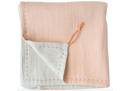 Camomile London Two Tone Soft Cotton Light Weight Blanket/Swandle Double Layer - Hand Embroidered - Embroidery Rose Pink/Aqua