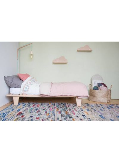 Camomile London Two Tone Hand Embroidered Soft Quilt With Cotton Filling - Embroidery Taupe Pink/Mink