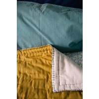 Two Tone Hand Embroidered Soft Quilt With Cotton Filling - Embroidery Teal Golden/Mink