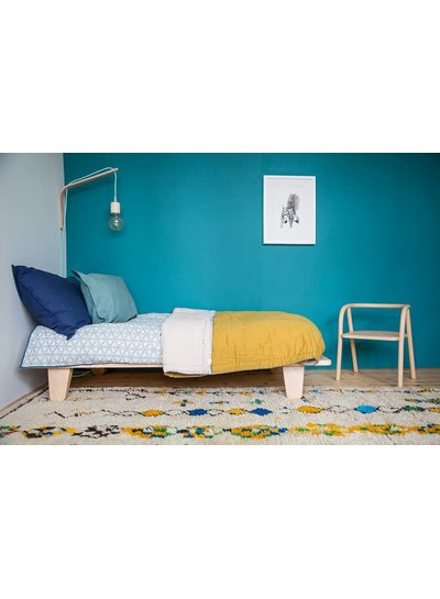 Camomile London Two Tone Hand Embroidered Soft Quilt With Cotton Filling - Embroidery Teal Golden/Mink
