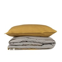 Two Tone Duvet Cover With Hand Emb Running Stitch - Golden/ Warm Grey