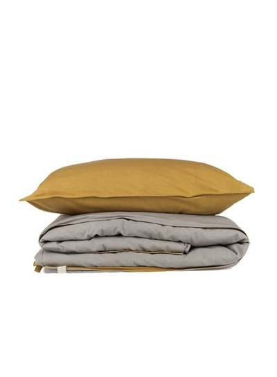 Camomile London Two Tone Duvet Cover With Hand Emb Running Stitch - Golden/ Warm Grey
