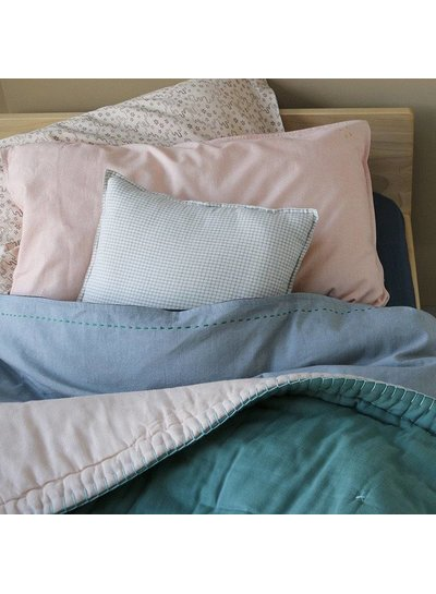 Camomile London Two Tone Duvet Cover With Hand Emb Running Stitch - European Size Chambray/Ink