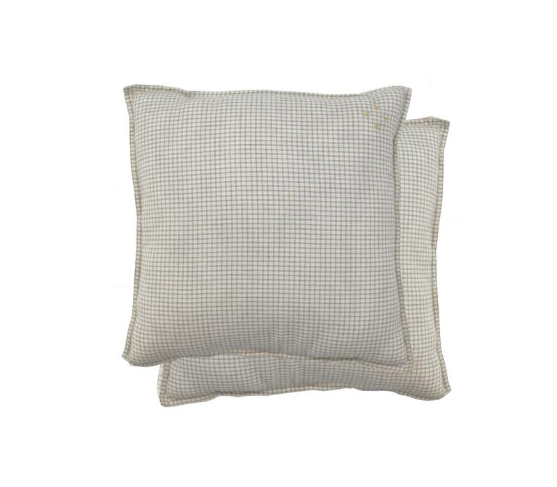 Square Check Padded Cushion - Small Double Check Ivory/Grey With Parchment Back