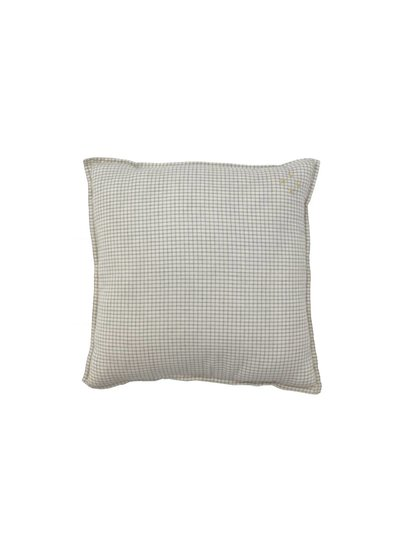 Camomile London Square Check Padded Cushion - Small Double Check Ivory/Grey With Parchment Back